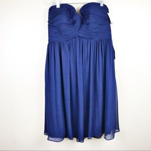 Donna Morgan blue chiffon strapless dress size 16
